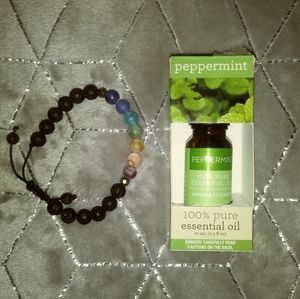 New Lava Bead Adjust Bracelet and Peppermint oil